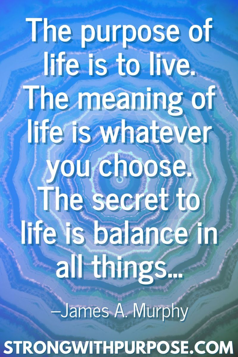 20 Inspiring Balance Quotes - The meaning of life is whatever you choose. The secret to life is balance in all things - Strong with Purpose